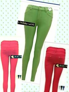 WOMENS LADIES SKINNY FIT COLOURED STRETCH JEANS JEGGINGS TROUSERS