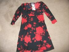 LADIES NEW TOP BY MORGAN DE TOI FRANCE-BLACK WITH DEEP RED ROSE PATTERN-32 CHEST