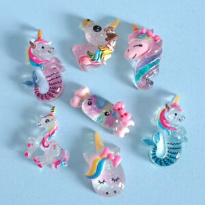 20x Mixed Resin Cartoon Glitter Unicorns Flatback Cabochons Craft Embellishments