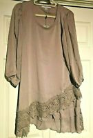 Pretty Angel layered dress tunic lace accent sheer sleeve S M L XL Light brown