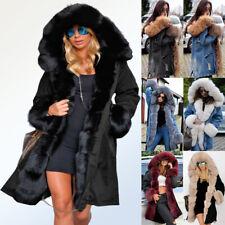 Roiii Womens Plus Size Faux Fur Parka Hooded Fur Lining Thicken Warm Winter Coat