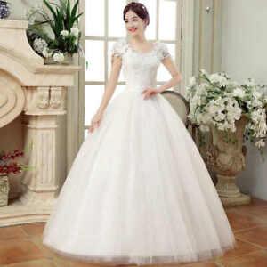 Ball Gown Wedding Dresses 2020 Plus Size Cheap White Lace Appliques Bride Dress