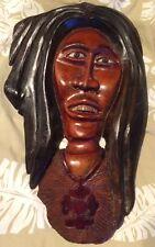 Vintage AFRICAN Figural FACE Wood CARVED Folk Art Tribal Plaque Decor