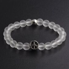 8MM White Natural Gemstone Peace sign Handmade Beads Stretchable Bracelets