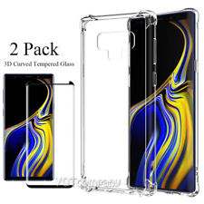 For Samsung Galaxy Note 9 Clear Back Hard Shockproof Cover Case + Tempered Glass