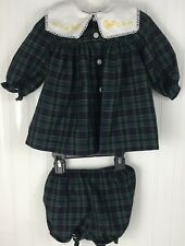 Vintage B.T. Kids Girls Dress Bloomers Madras Plaid Tartan Green  6-9 Months