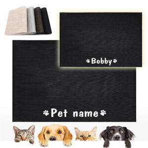 Personalized Mat for Dog Bowls Cute Custom PVC Placemats for Pet Food and Water