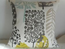 """CHARTREUSE ABSTRACT TREE DESIGN CUSHION COVER 17""""/43cm Lime, Duckegg, Black"""