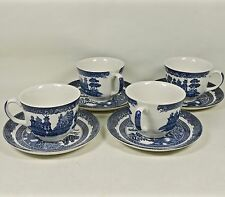 4 Johnson Brothers Blue WILLOW Ironstone Cup & Saucer Sets-MIE Marks- Minty!