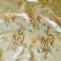 DRAGON GOLD CHINESE ORIENTAL BROCADE Silky Satin Dress Fabric 90cm wide