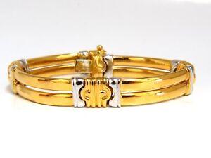 18kt. Gold Two Toned Slim Cuff Bracelet Byzantine Mod