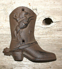 Cast Iron COWBOY BOOT Plaque Sign Rustic Ranch Wall Home Decor WESTERN Rodeo
