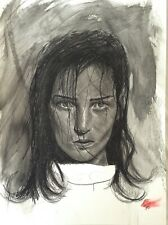 large original charcoal drawing female portrait by Artist Rikki McGovern signed