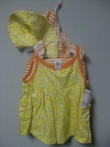 Gerber Girls' 3-Piece Yellow Flowers Dress, Cap & Panties Set BABY CLOTHES GIFT