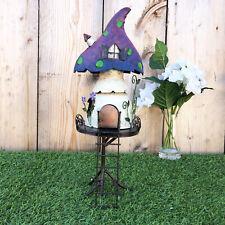 Metal Pixie Fairy Tree House Outdoor Garden Patio Sculpture Decorative Ornament