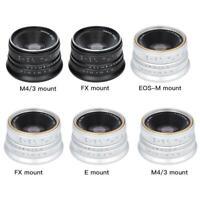Lente de enfoque manual 25mm F1.8 para cámaras Sony Canon Fuji M4/3