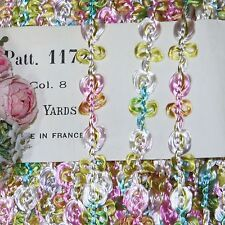 """1ft French 3/8"""" Rayon Ombre Daisy Flwer Trim Roco Rosette Ribbon Doll Dress Vtg"""
