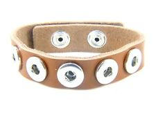 Noosa Style Chunks Mini Snap Button Charms Leather Bracelet Ginger Snaps Tan
