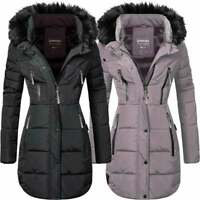 Spindle Womens Long Winter Fleece Lined Parka Coat Quilted Jacket Zip Pockets