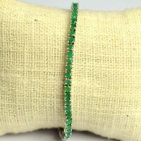 3mm Natural Green Round Cut Emerald Gemstone 925 Sterling Silver Tennis Bracelet