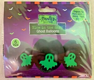 Haunted House, Glow In The Dark Ghost Balloons 6 Pack,