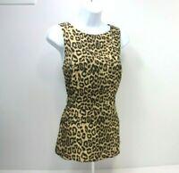 Banana Republic Leopard Print Sleeveless Peplum Blouse Back Zip Size 10 Flared