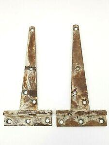 "Vintage Barn Door Gate Hinges T Strap 9"" Reclaimed Hardware Salvaged"