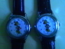 MICKEY MOUSE DISNEY WATCH 2 PC LADIES LOT 1980'S NEW LEATHER STRAPS & BATTERY