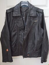 MEN'S SUPERDRY RYAN BLACK LEATHER ASYMMETRIC BIKER JACKET, XL (LARGE ~ 42), NWT