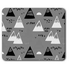 Rectangle Mouse Mat BW - Awesome Funky Mountains Abstract Fun  #41058