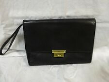 FOSSIL Black Leather Twist Lock CLUTCH PURSE Wristlet Strap Evening BAG