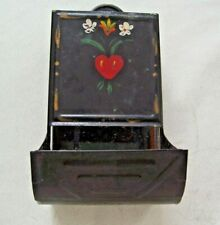 Vintage Tin Match Box Country Kitchen Stamped Made in USA Handpainted Flowers