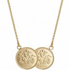 Medio Soberano Collar Plata Maciza De Ley Baádo En Oro Amarillo Colgante 43.2cm