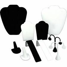Black Velvet Amp Faux White Leather Jewelry Display 10 Piece Set
