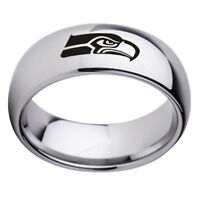 Seattle Seahawks Football Team Stainless Steel Silver Ring Band Gifts Size 6-13