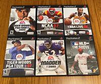 Lot of 6 PlayStation 2 Sports Games Tiger Woods, MLB, NCAA Football, Etc. (25.L)
