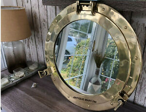 "20"" Big Nautical Porthole Brass Finish Marine Ship Mirror Porthole Wall Decor"
