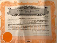 "Vintage unused stock certificate, E-Z Oil Burner Corporation, 1920""s"