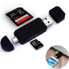 Micro USB OTG to USB 2.0 Adapter SD/Micro SD Card Reader+USB Male Black White