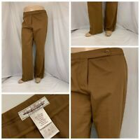 Tommy Bahama Pants Sz 14 Brown Flat Front Cotton Lycra LNWOT YGI P0-269