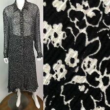 $258 Ralph Lauren 16W Black Silk Chiffon White Floral Button Top & Skirt Set