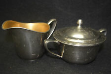 L F C Universal Sugar Bowl with lid and Creamer - Chrome with Gold Inlay