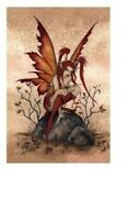 AMY BROWN ~ LITTLE RED MISCHIEF FAIRY 24x36 FANTASY ART POSTER FAIRIES FAERY