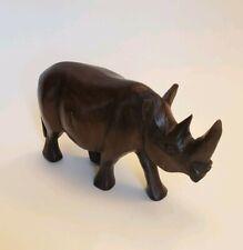 Carved Dark Wood Rhinoceros Rhino Sculpture Wooden African Art Figurine