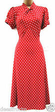 NEXT 20 1940's WW2 LANDGIRL VINTAGE STYLE TEA DRESS POLKA DOT SPOT  US 16 EU 48
