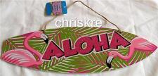 Wood Beach Sign Luau Surf Board Aloha Flamingo Hawaiian Door Plaque Decoration