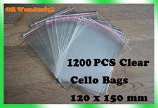 1200pcs 120 X 150mm 30mm Cellophane Cello Clear Bags Self Adhesive BULK Sell