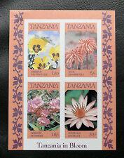 TIMBRES FLEURS : TANZANIE 1986 BLOC FEUILLET N° 46** SANS CHARNIERE Non Dentelé