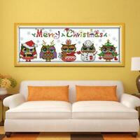 New Year Snowman Stamped Cross Stitch Kit DIY Needlework Wedding Christmas Gifts