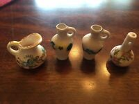 Vintage assort. of 4 Unbranded Miniature Porcelain/Ceramic Art Pottery Vessels